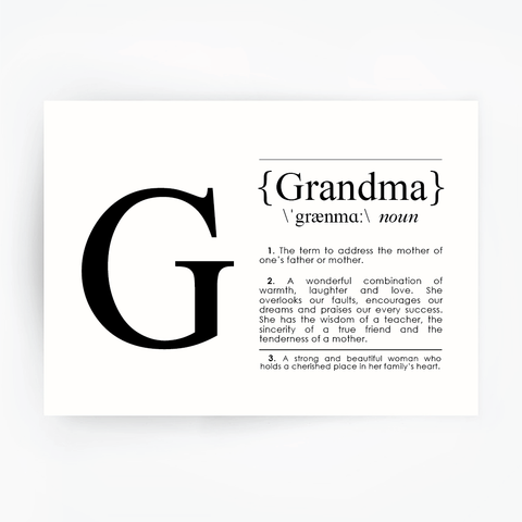 GRANDMA Definition Art Black Print