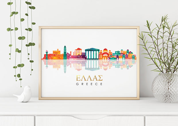 Skyline GREECE Art Foil Print