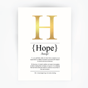 Hope Definition Print Gold Foil