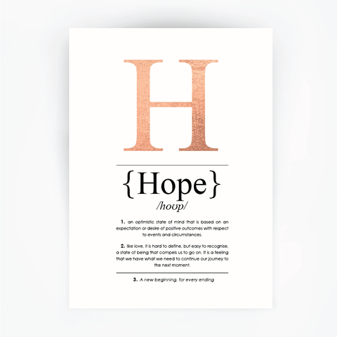Hope Definition Print Rose Gold Foil