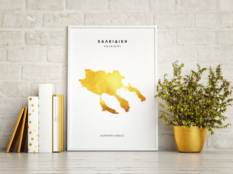 Map HALKIDIKI Art Foil Print