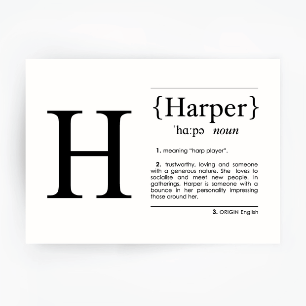HARPER Name Definition Art Print Black