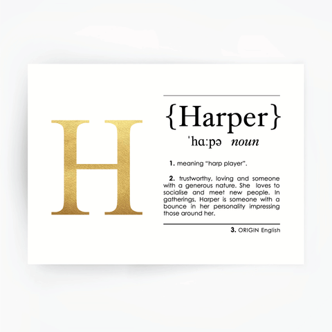 HARPER Name Definition Art Print Gold