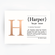 HARPER Name Definition Art Print Rose Gold