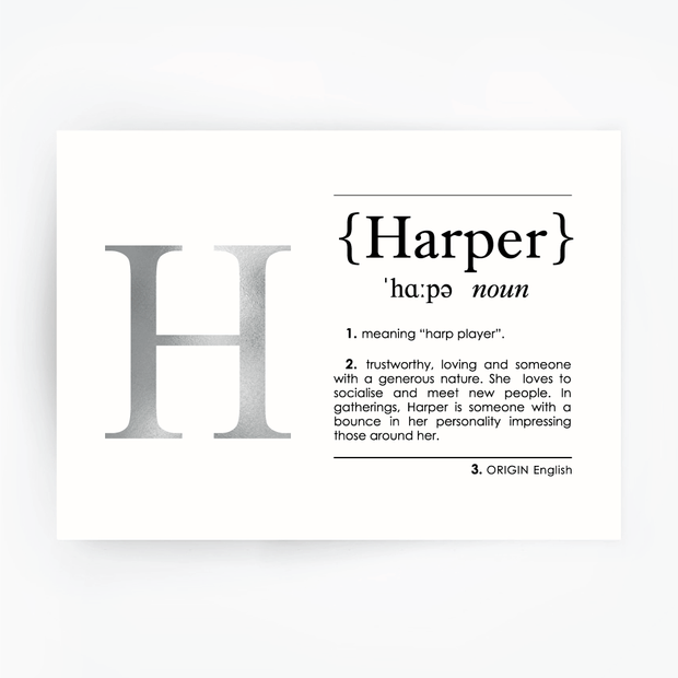 HARPER Name Definition Art Print Silver