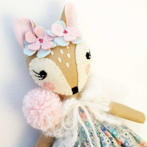 Heirloom Hand Made Fabric Doll Fawn Tiffany Close