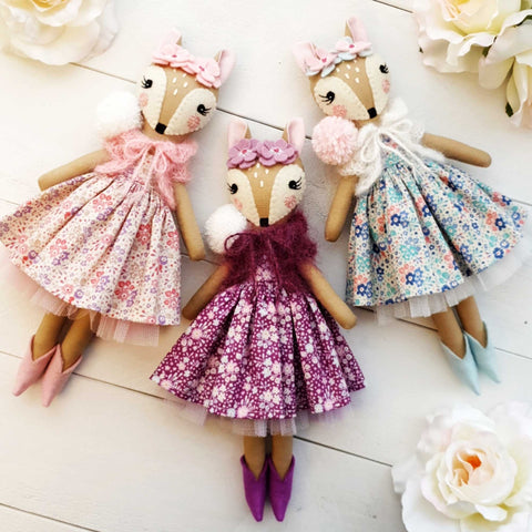 Heirloom Hand Made Fabric Doll Fawns