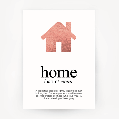 Home Keepsake Rose Gold Foil Print