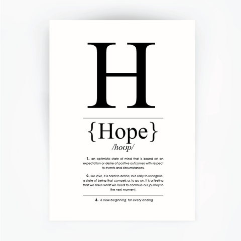 Hope Definition Print Black