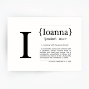 Name Definition Art Print IOANNA Black
