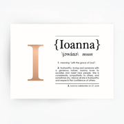Name Definition Art Print IOANNA Rose Gold