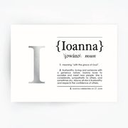 Name Definition Art Print IOANNA Silver