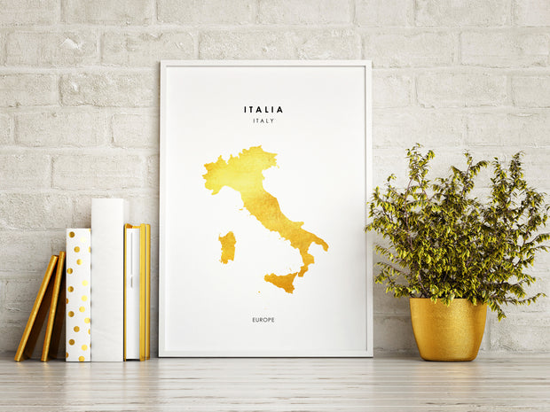 Map ITALY Art Foil Print