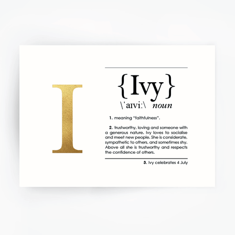 Name Definition Art Print IVY Gold Foil