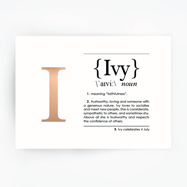Name Definition Art Print IVY Rose Gold Foil