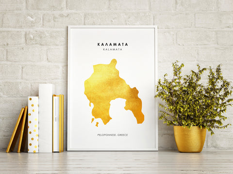Map KALAMATA Art Foil Print