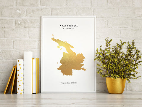 Map KALYMNOS Art Foil Print