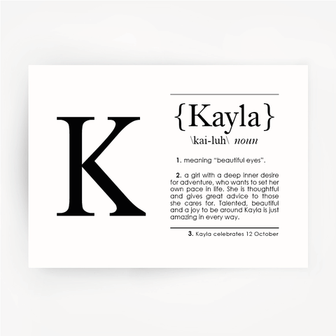 Name Definition Black Print KAYLA