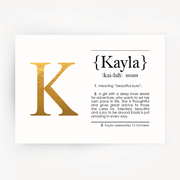 Name Definition Foil Gold Print KAYLA