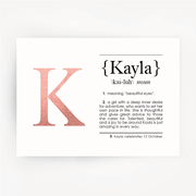Name Definition Foil Rose Gold Print KAYLA