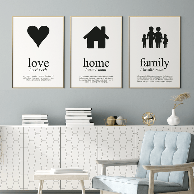 3 Black Print Set Love, Home and Family