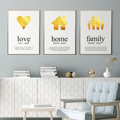 3 Gold Foil Print Set Love, Home and Family