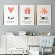 3 Rose Gold Foil Print Set Love, Home and Family