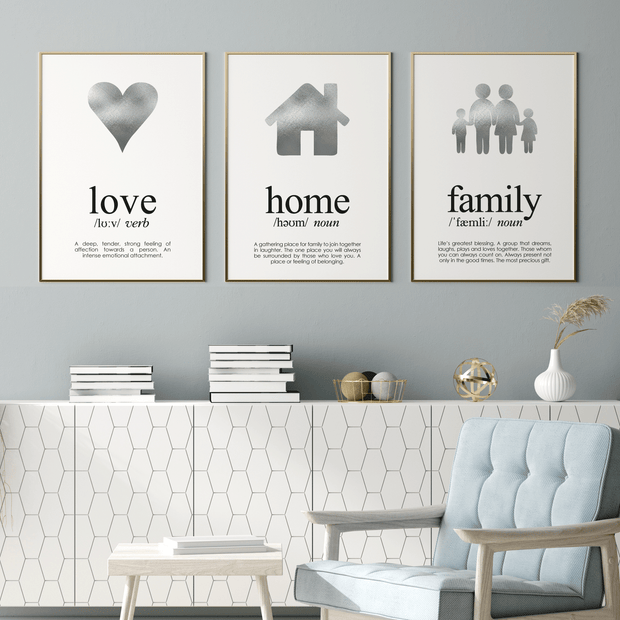 3 Silver Foil Print Set Love, Home and Family