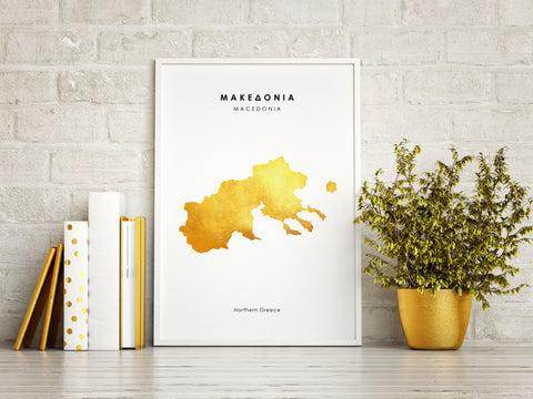 Map MACEDONIA Art Foil Print