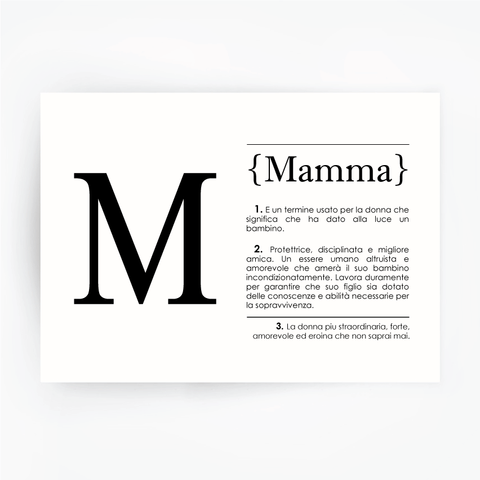 Italian Definition Art Print MAMMA Black