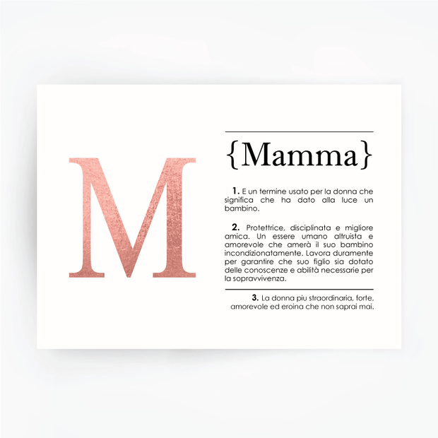 Italian Definition Art Print MAMMA Rose Gold Foil