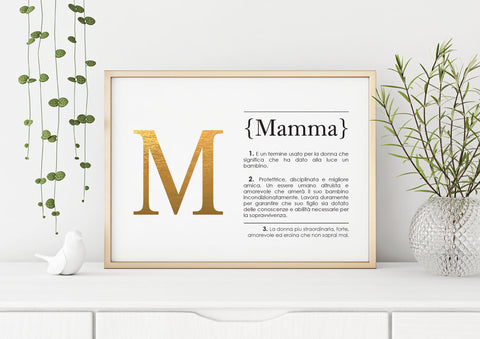 Italian Definition Art Print MAMMA Gold Lifestyle
