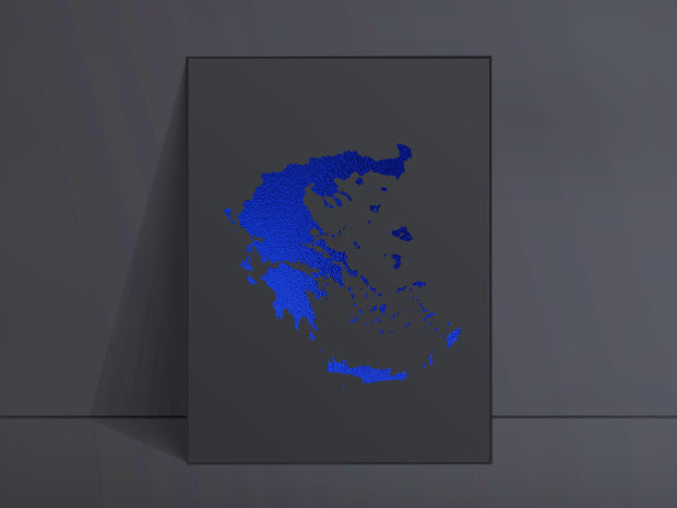 CUSTOM Black Map Art Blue Foil Print
