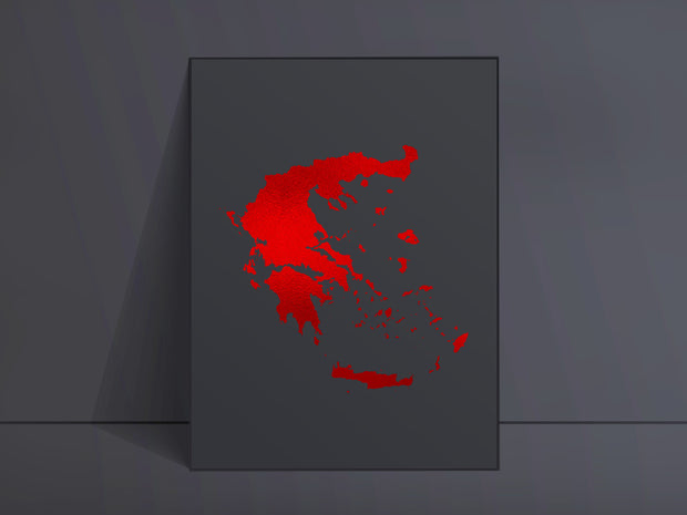CUSTOM Black Map Art Red Foil Print