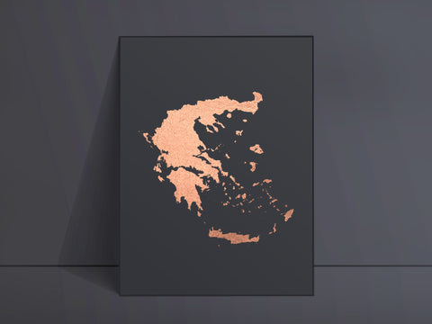CUSTOM Black Map Art Rose Gold Foil Print