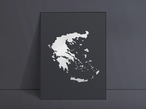 CUSTOM Black Map Art Silver Foil Print