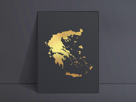 CUSTOM Black Map Art Gold Foil Print