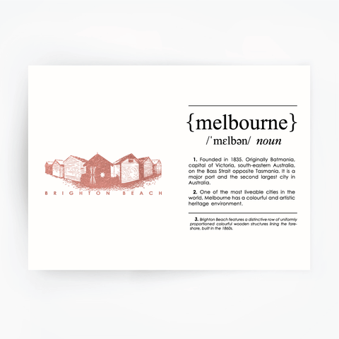Melbourne Landmark Art Print - Brighton Beach Rose Gold
