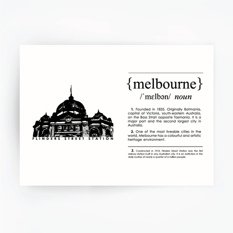 Melbourne Landmark Art Print - Flinder's Street Station Black