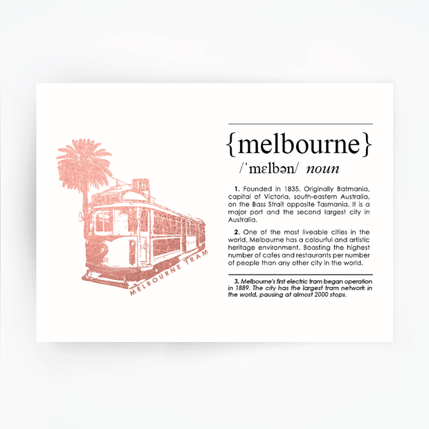 Melbourne Landmark Art Print - Melbourne Tram Rose Gold