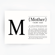 MOTHER Definition Art Print Black