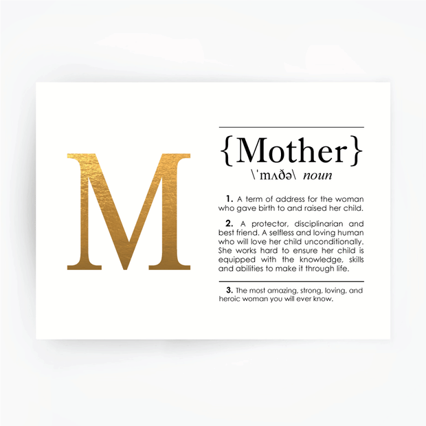 MOTHER Definition Art Print Gold