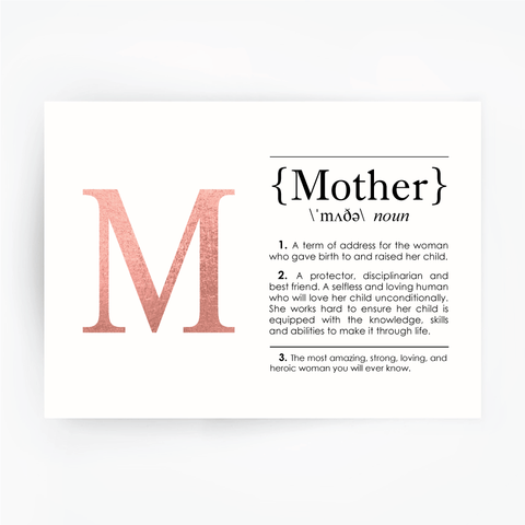 MOTHER Definition Art Print Rose Gold