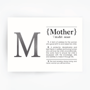MOTHER Definition Art Print Silver