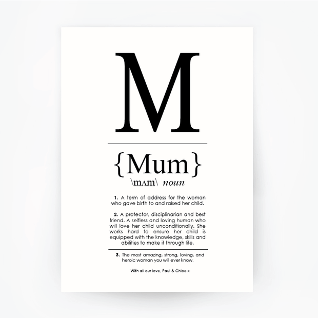 MUM Definition Art Print Portrait Black