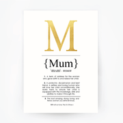 MUM Definition Art Print Portrait Gold