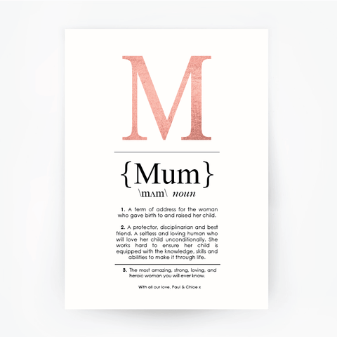 MUM Definition Art Print Portrait Rose Gold