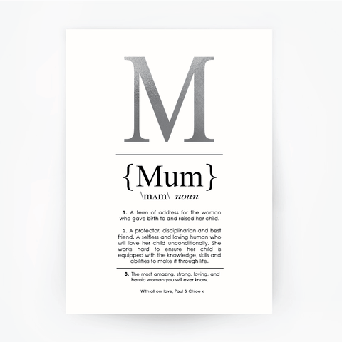 MUM Definition Art Print Portrait Silver