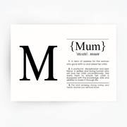 MUM Definition Art Print Black