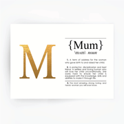 MUM Definition Art Print Gold